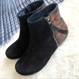 Dansko booties black suede bronze shimmer side zip